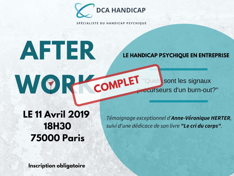 Afterwork Paris DCA Handicap, burn out, troubles psychosociaux, sensibilisation handicap entreprise
